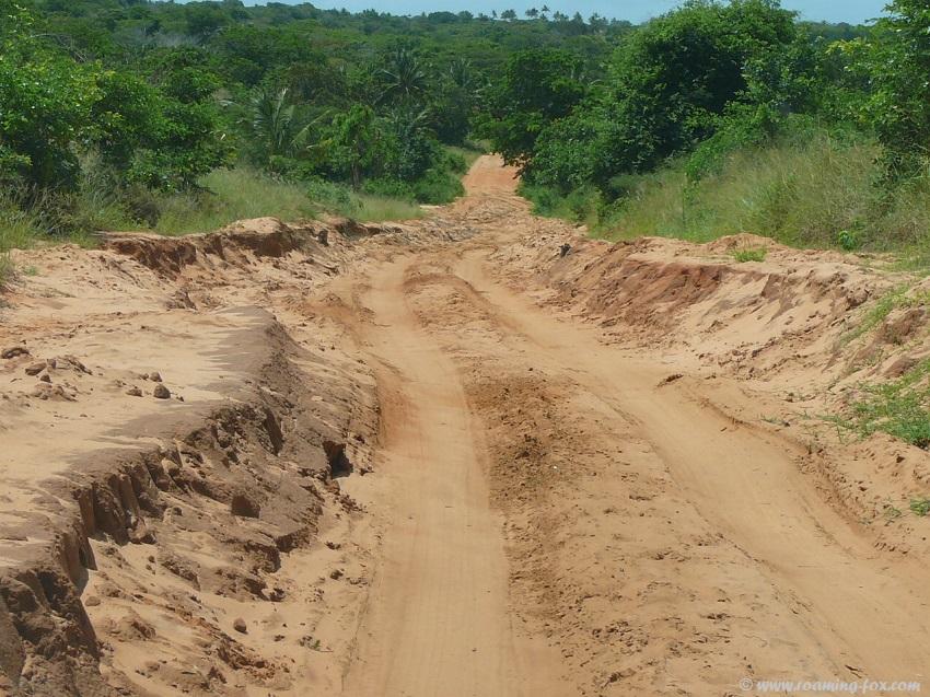 Sand road to Pomene - is it an island?