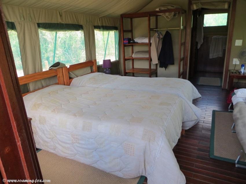 Inside the safari tent at Tlopi Tented camp
