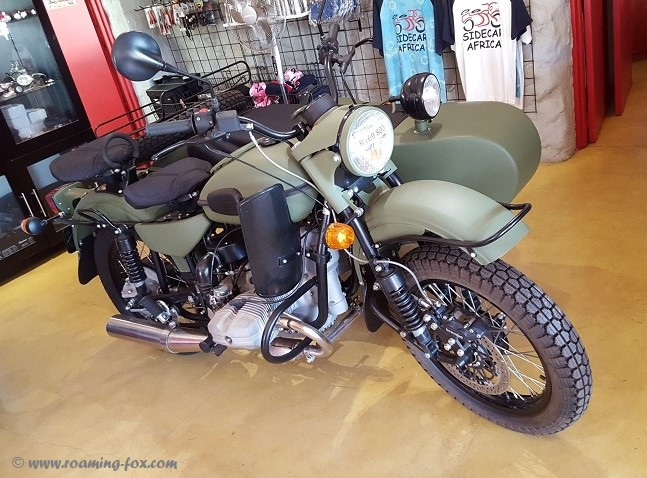 Vintage style World War II Ural sidecar motorbike