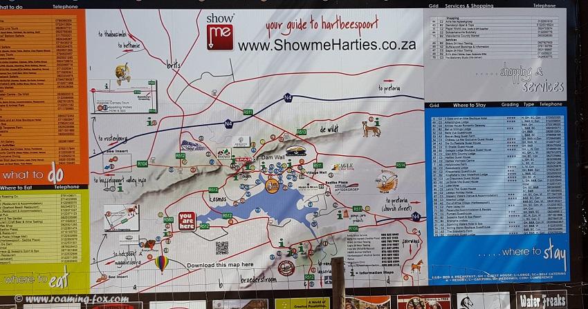A map to meander around Hartebeespoort Dam