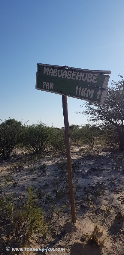 Mabuasehube sign in Kgalagadi Transfrontier Park