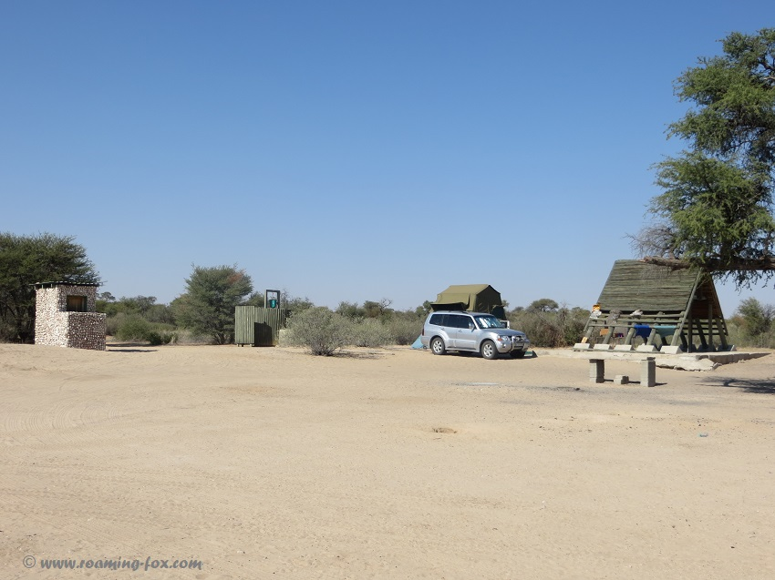 Campsite with shower, pit toilet and water - Lesholoago