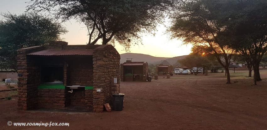 Red Sands campsites with power, private barbeque and scullery under cover