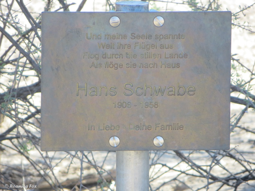 Grave of Hans Schwabe diamond prospector