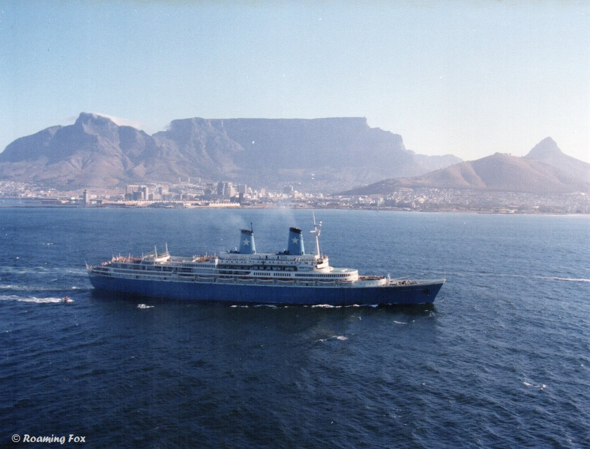 The Achille Lauro in Table Bay with the backdrop of Table Mountain