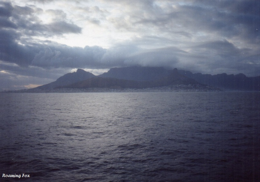 Table Mountain on a cloudy day, as we sailed in