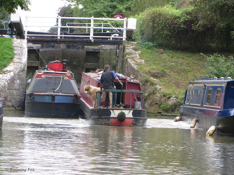 Canal boats at lock