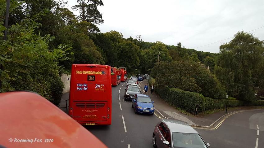 Skyline Red Bus tour stuck in traffic outside Bath