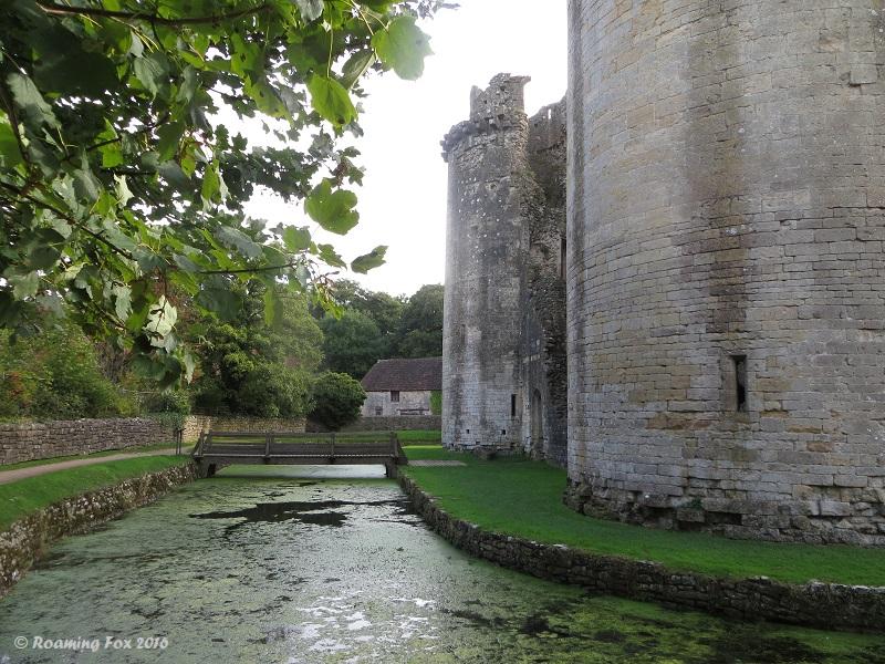Moat, Nunney Castle, bridge and building