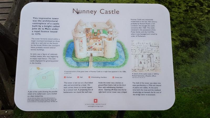 Sign of sketch of Nunney Castle