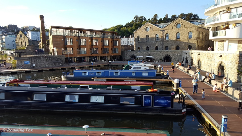 Canal boats and architecture harbour inlet Bristol