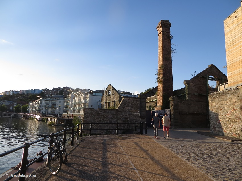 Ruins, chimney, sandstone wall, from Bristol's old gas works.JPG