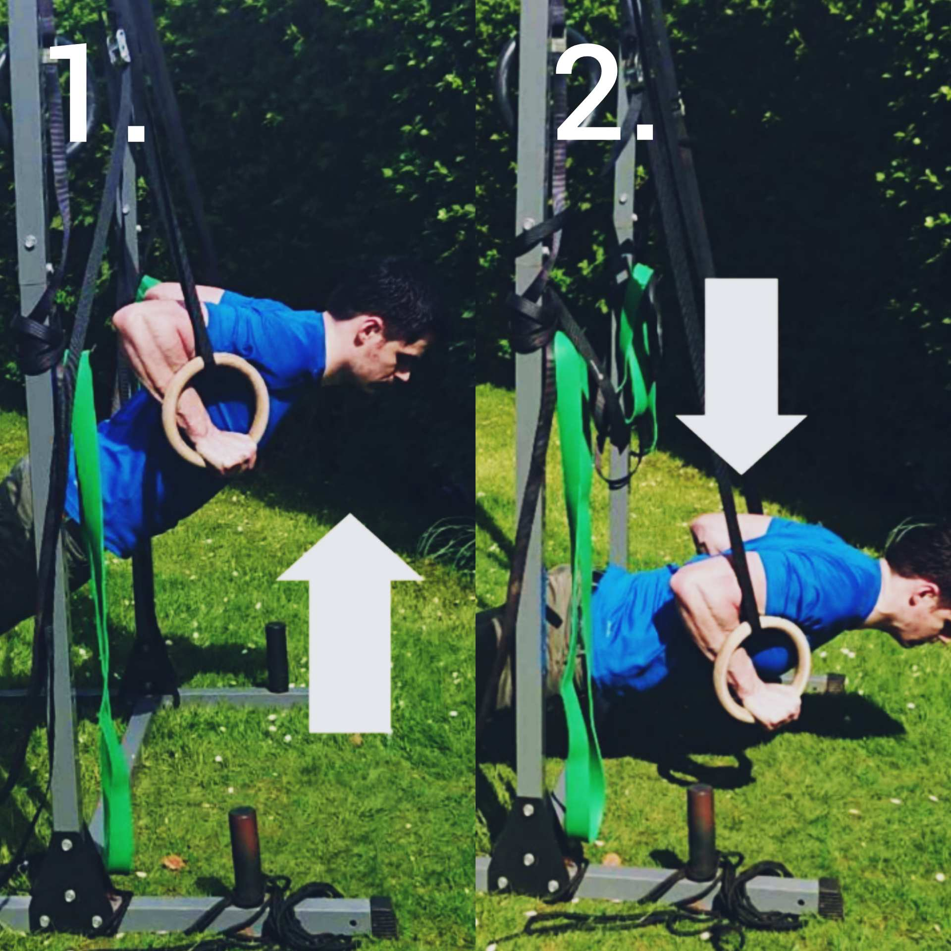 Ring dips at different heights demonstration