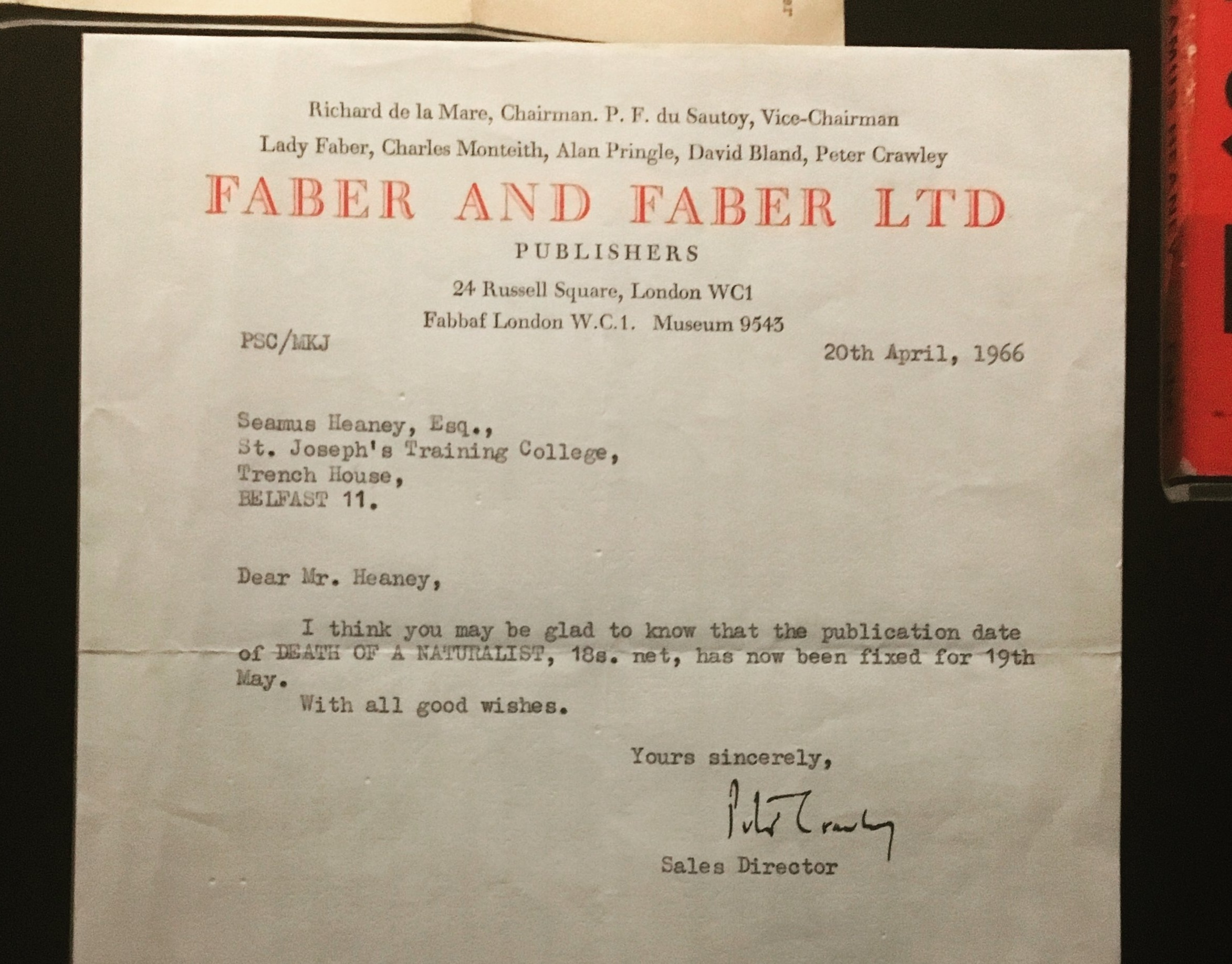 An early letter to Seamus Heaney from Faber and Faber, confirming the date and price of his first book.