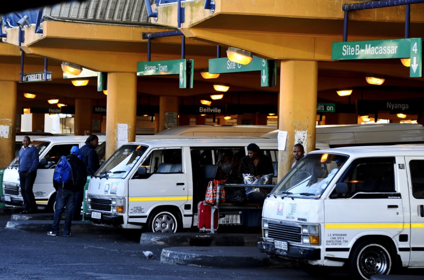 A minibus taxi rank in Cape Town, South Africa.  (Photo by 91.3 FM, The Voice of the Cape)