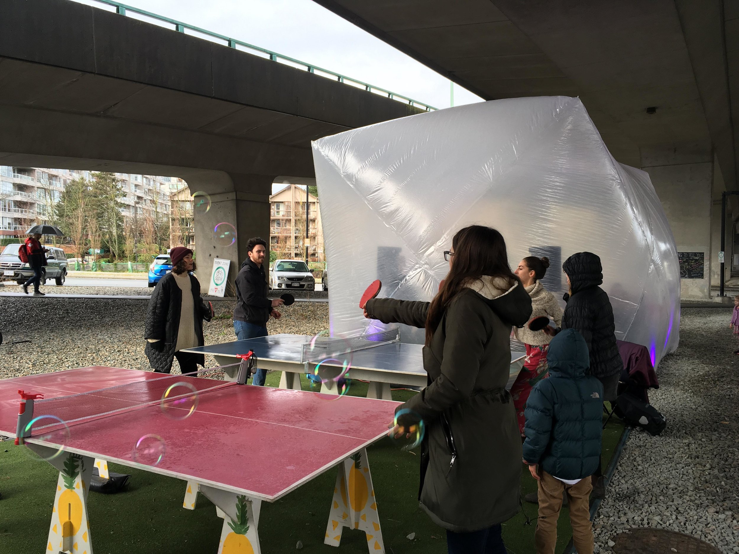 ping-pong and pop! under the bridge
