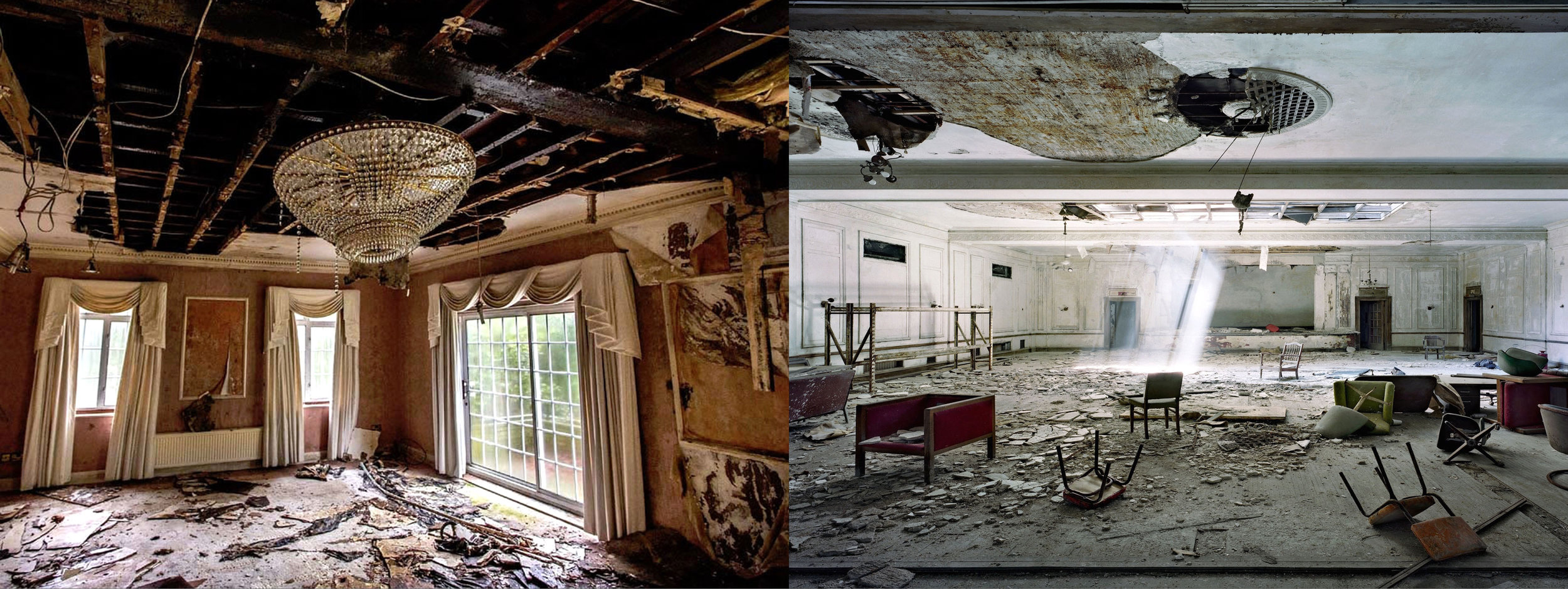 Figure 5: Ghost mansion in London (left) and abandoned hotel in Detroit (right). (Photos by The Guardian and Marchand & Meffre).