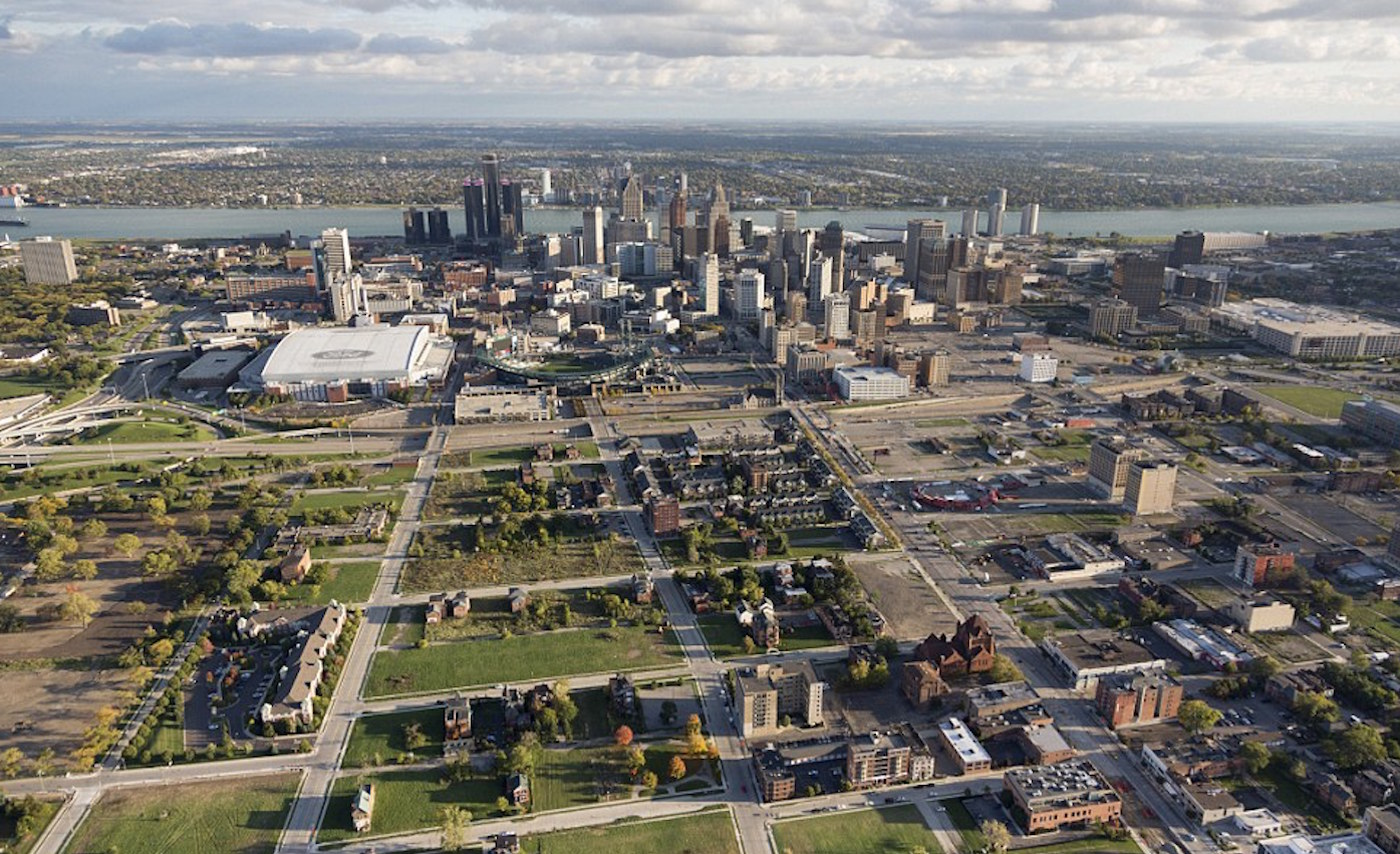 Figure 6: Shrinking city: aerial view of Detroit revealing vacant residential lots on the edge of downtown. (Photo by New York Times)