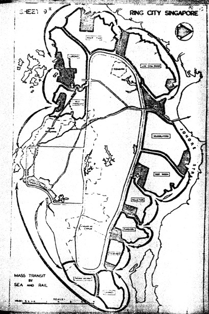 The proposed outline of Singapore's Urban Transport Network by UNDP consultants in 1963  (Source: UNDP, Growth & Urban Renewal in Singapore, pp. 82)