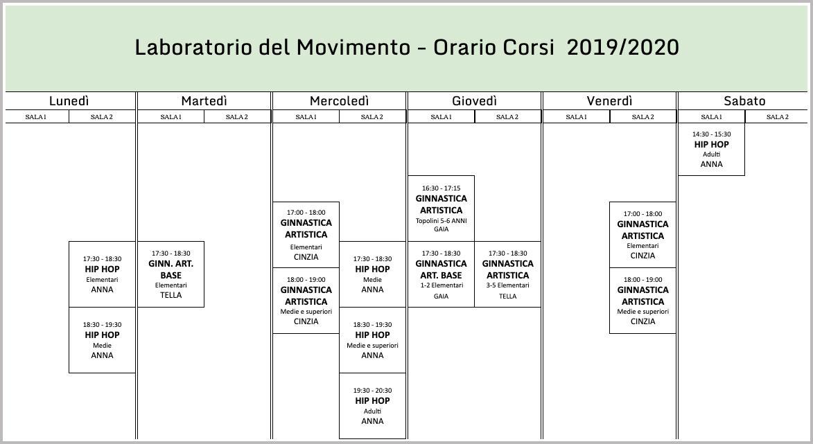 Orari corsi del Laboratorio del Movimento - movimenti.it