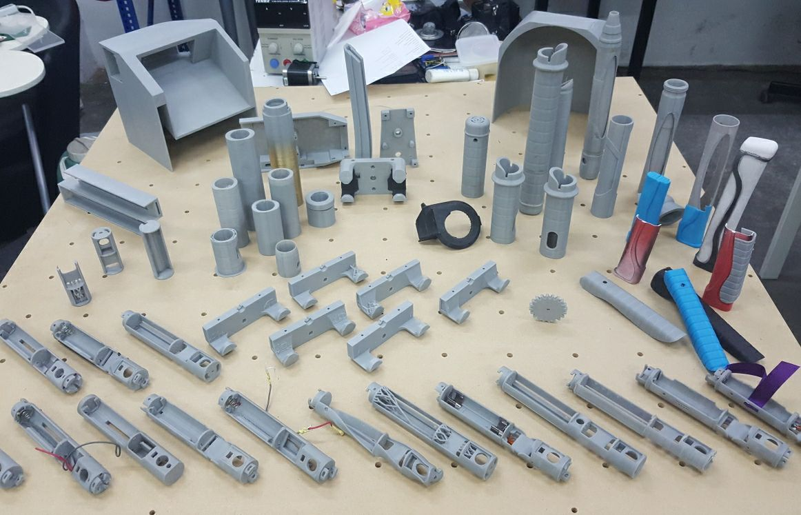 A look at some of the many 3D prints created as part of the trail and error process to create the Fusion Core Saber System