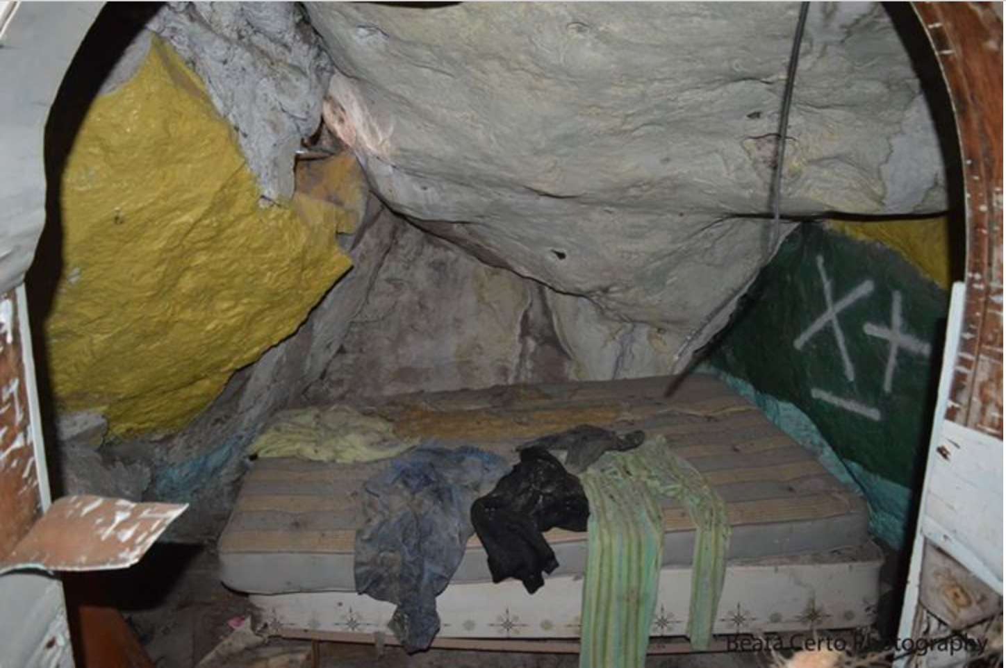 Cave house interior with mattress.