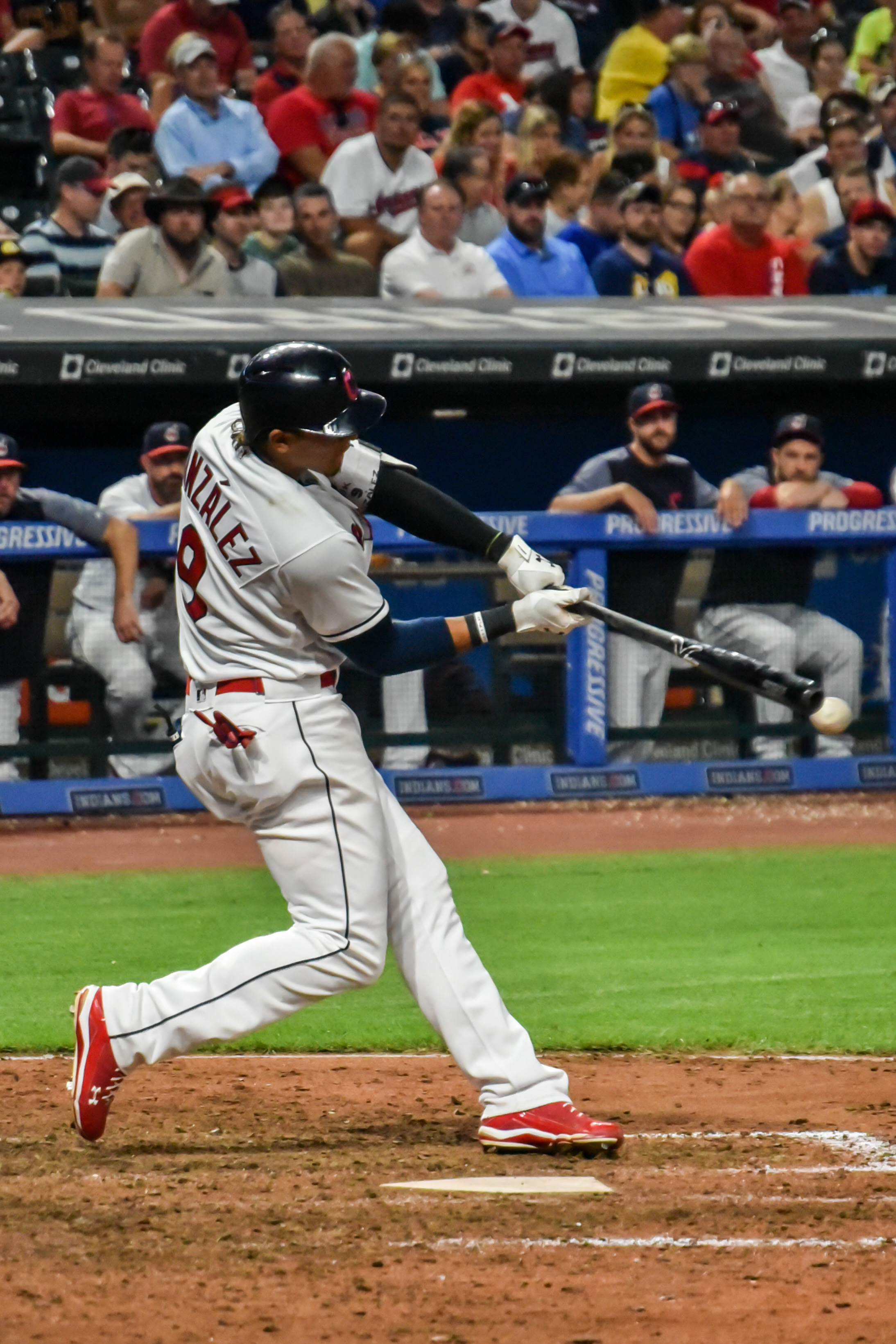 Erik Gonzalez sends one down the third baseline during Clevelands win on Friday night against the Blue Jays.