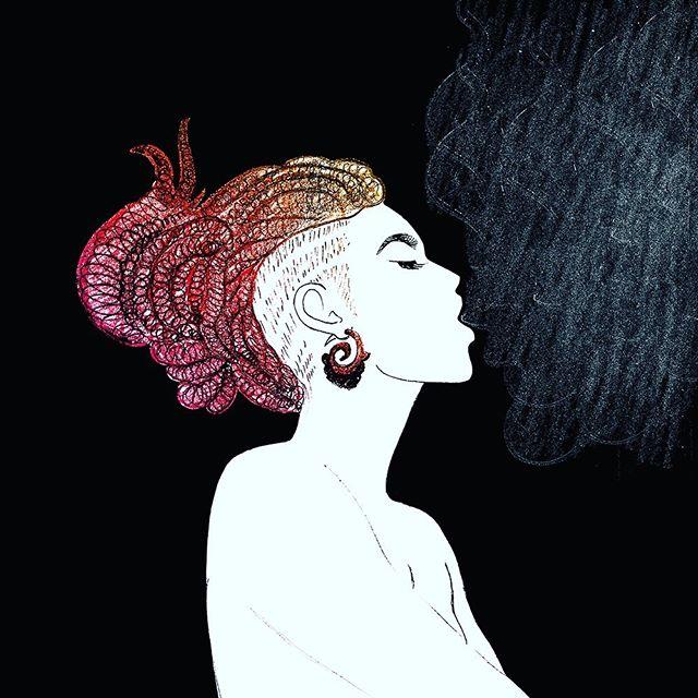 "@lais.arena 💜💗 ""A woman's spirit blossoms in the colors of her soul"" #laisarena #illustração #illustration #woman #dreadlocks #soul #femininity #illustrator #ezsilva #artist #rotterdam #art #kunst #artwork #draw #handdrawn #freespirits #love"