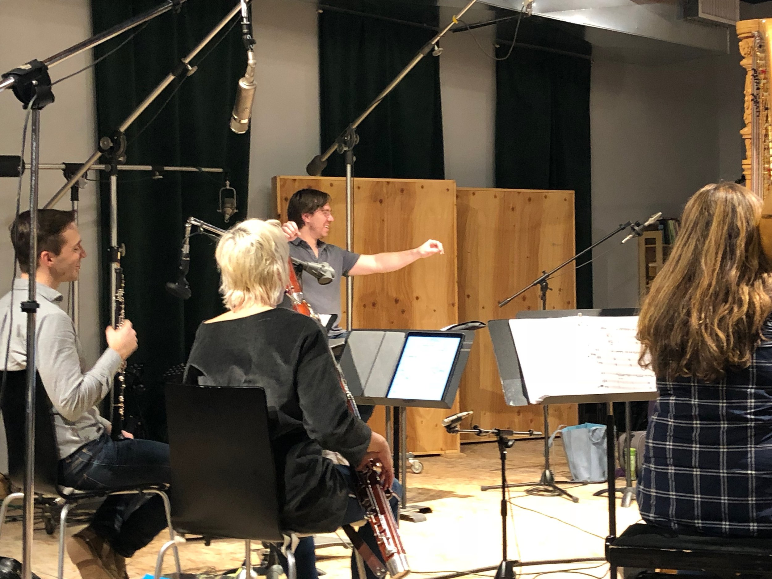 Conductor David Fulmer enjoys a moment during the recording of  Dolce la Morte .