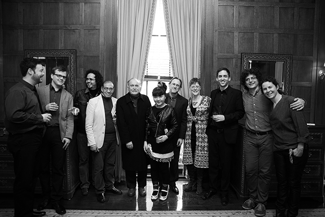 ICE members and Alvin Lucier at The Americas Society    in April 2013   .