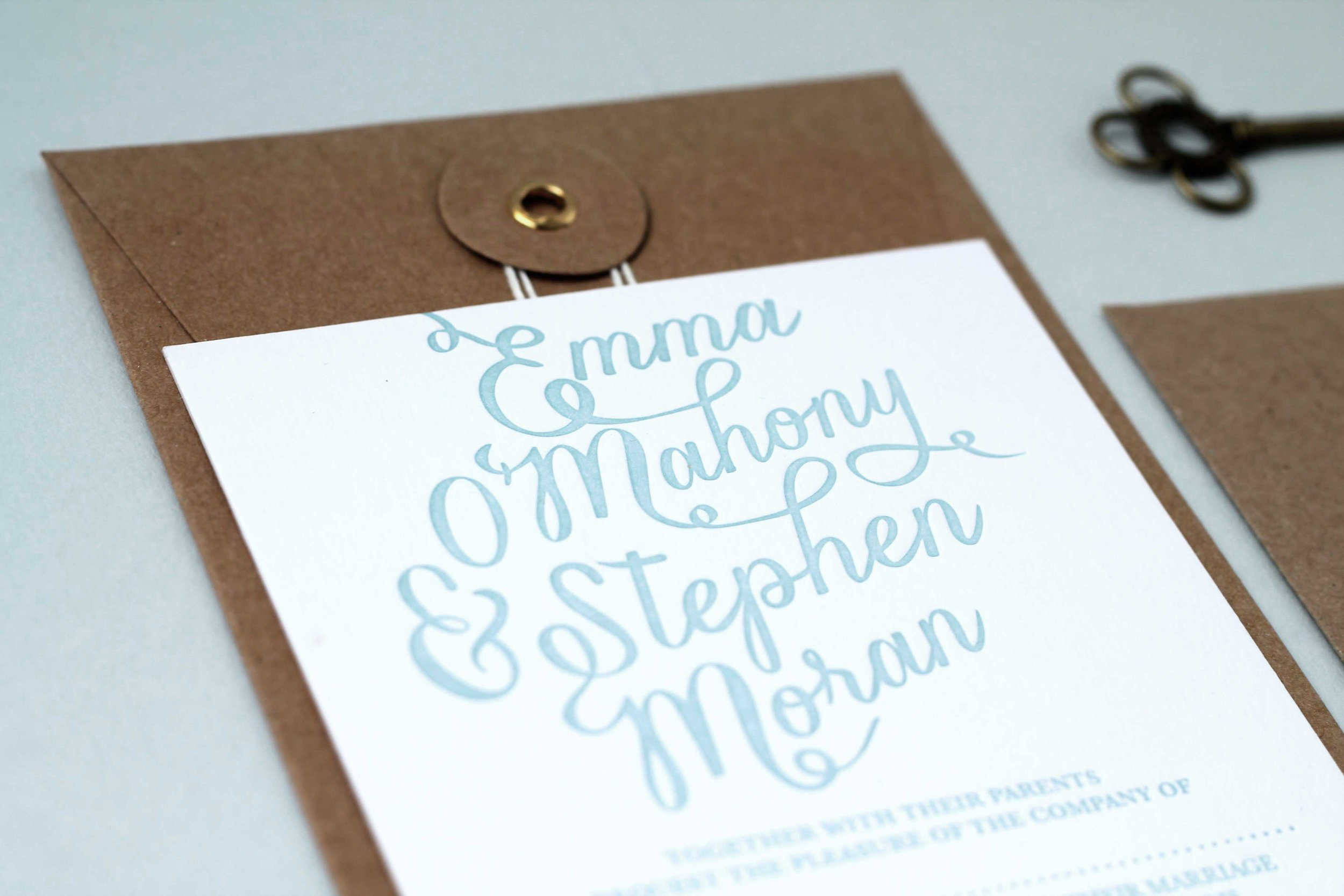 Script baby blue letterpress invitation and information card