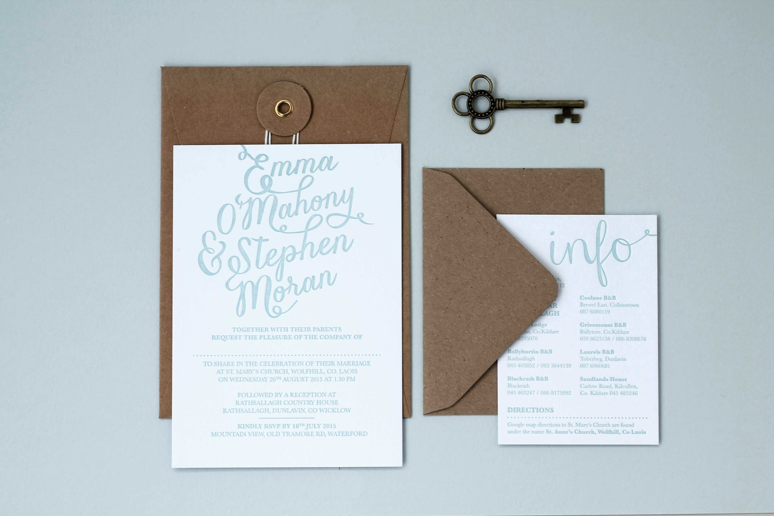 Script baby blue letterpress invitation