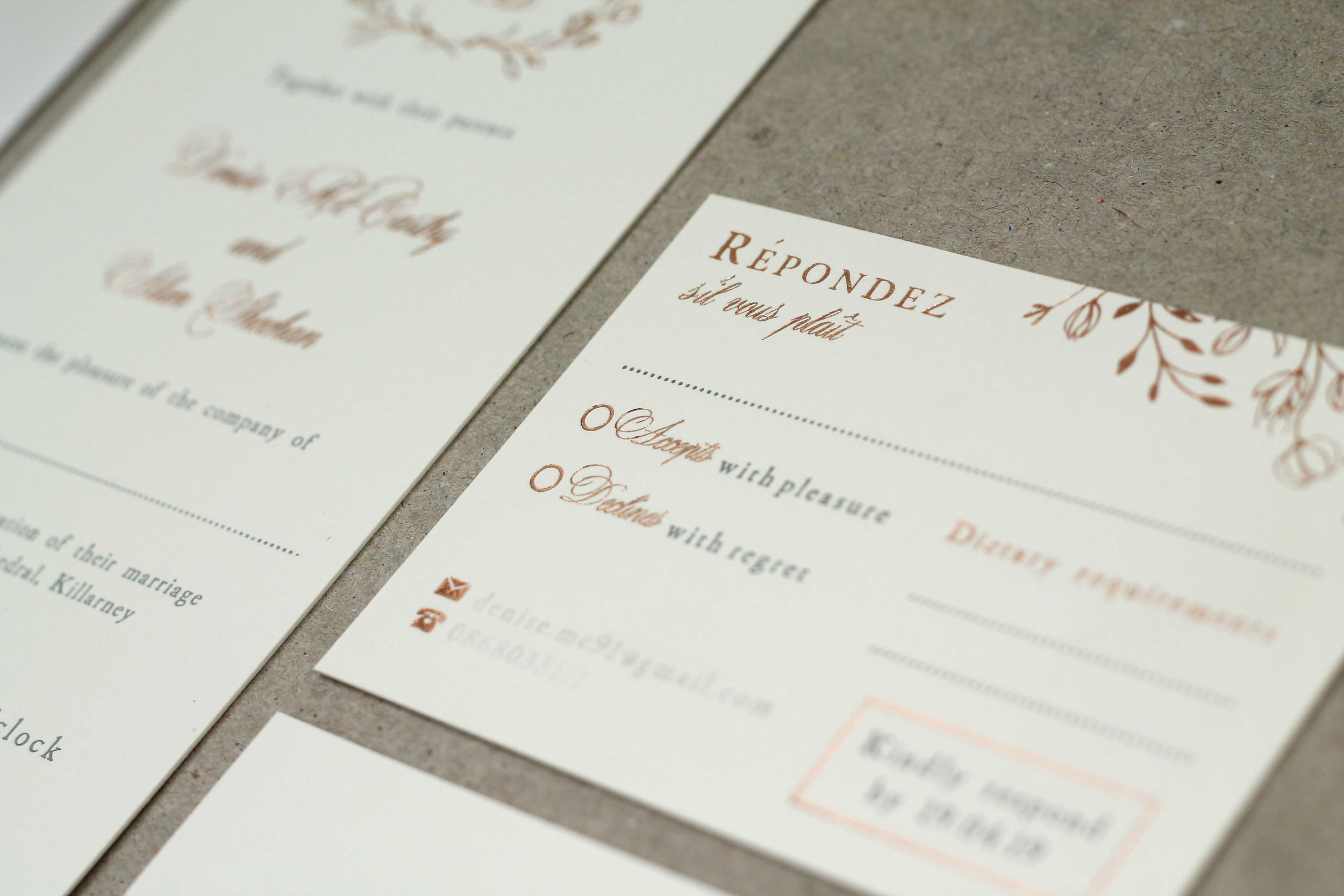 Floral rose gold hot foil letterpress wedding stationery with bellyband