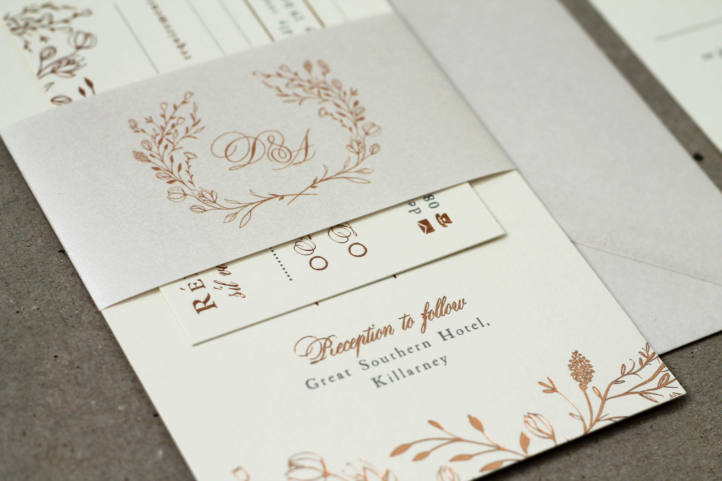 Floral rose gold hot foil letterpress wedding stationery, Northern Ireland