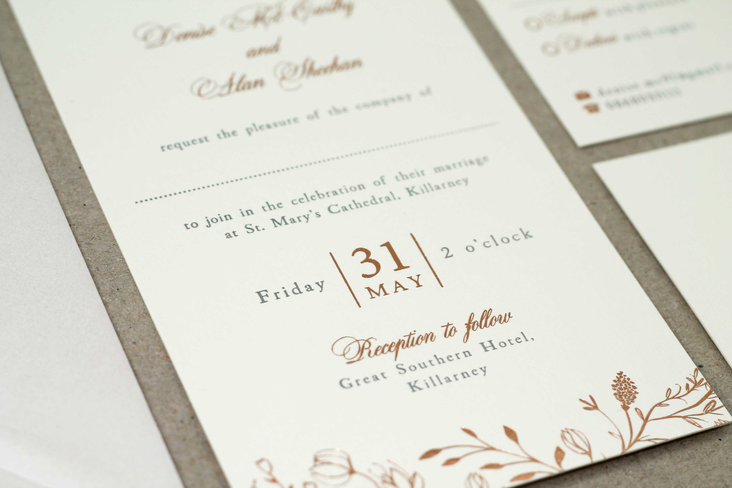 Floral rose gold hot foil letterpress wedding stationery