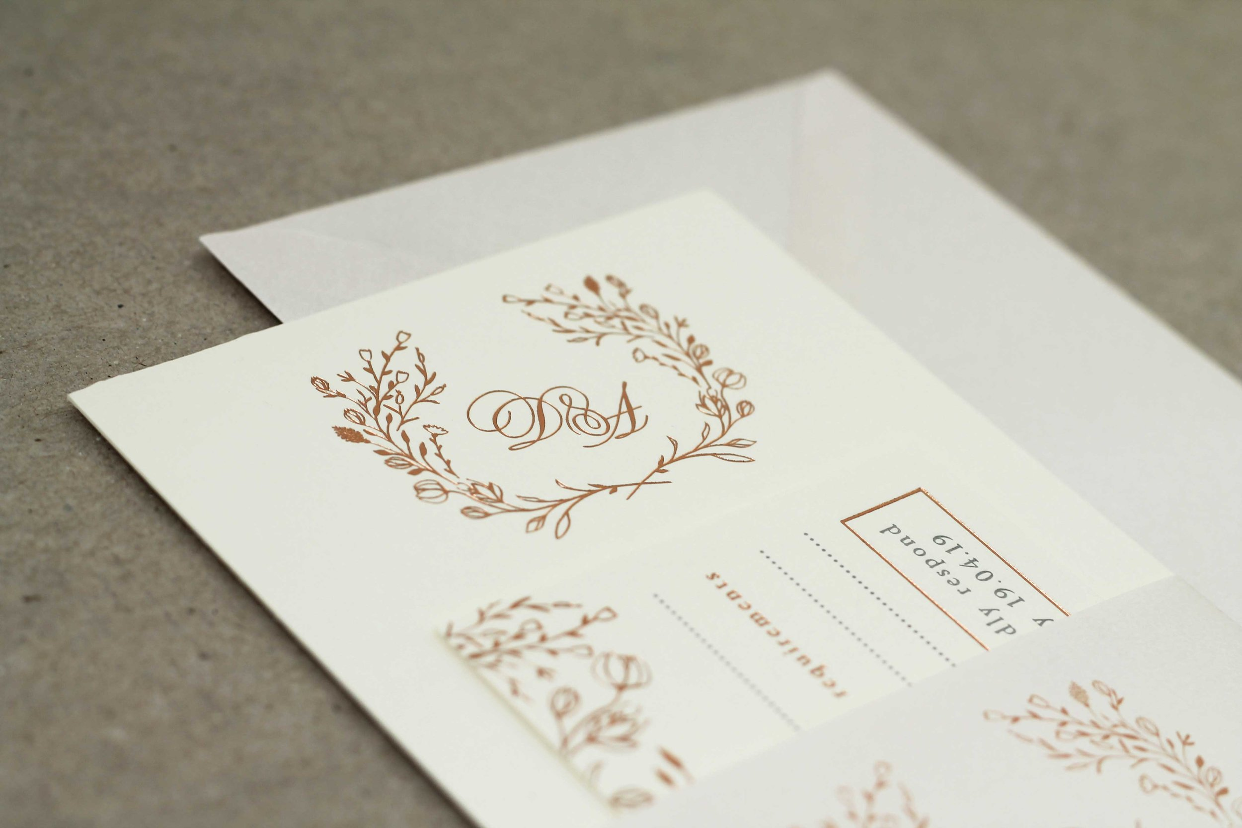 Floral rose gold hot foil letterpress wedding stationery,