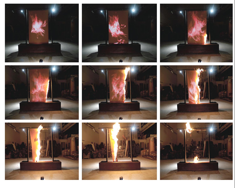 LineaTerraNeutro  - video projection, iron structure, fire - StudioSuperficie project