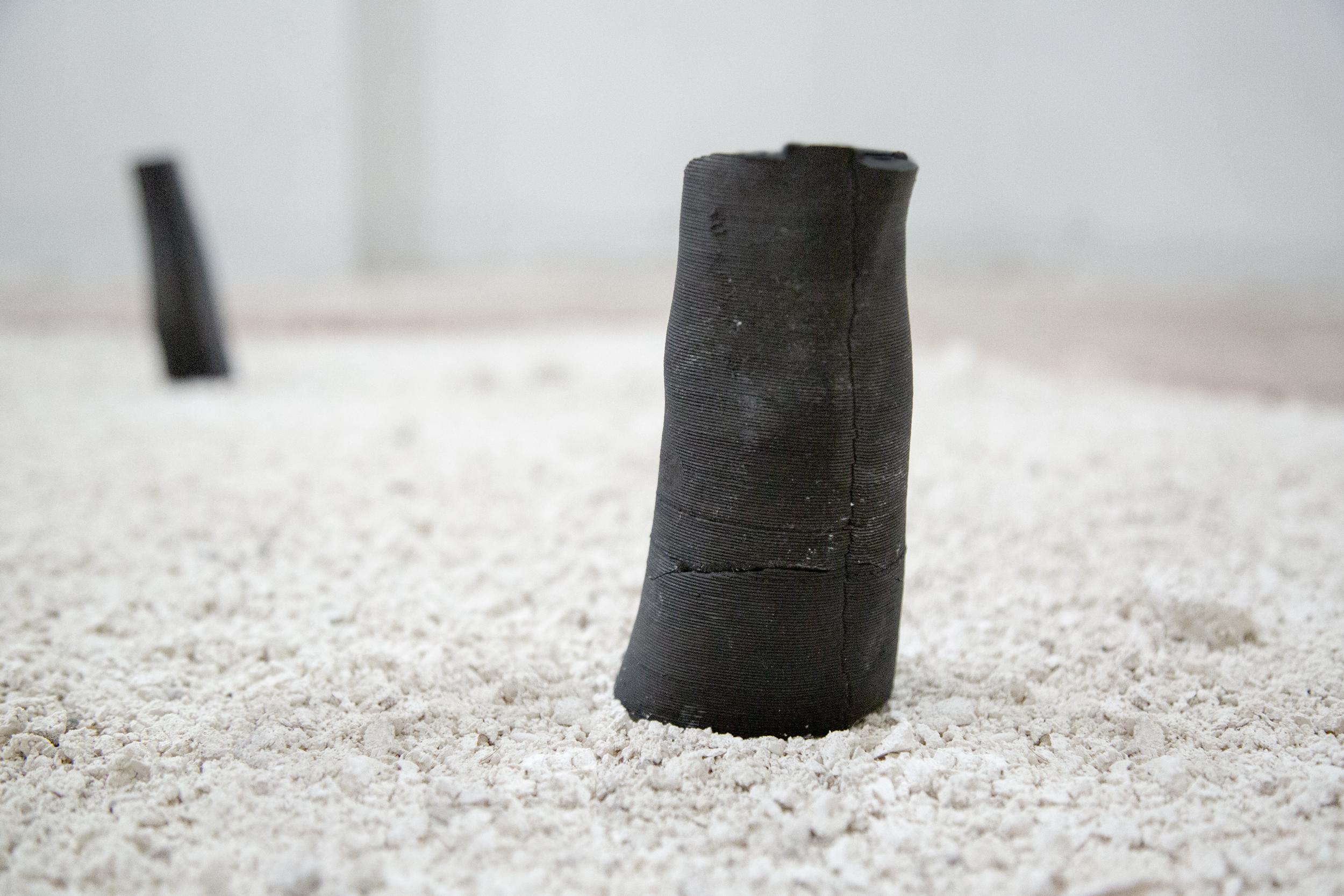 il chiaritoio,  bucchero etrusco on 3D printed ceramic, travertine dust, sprouts