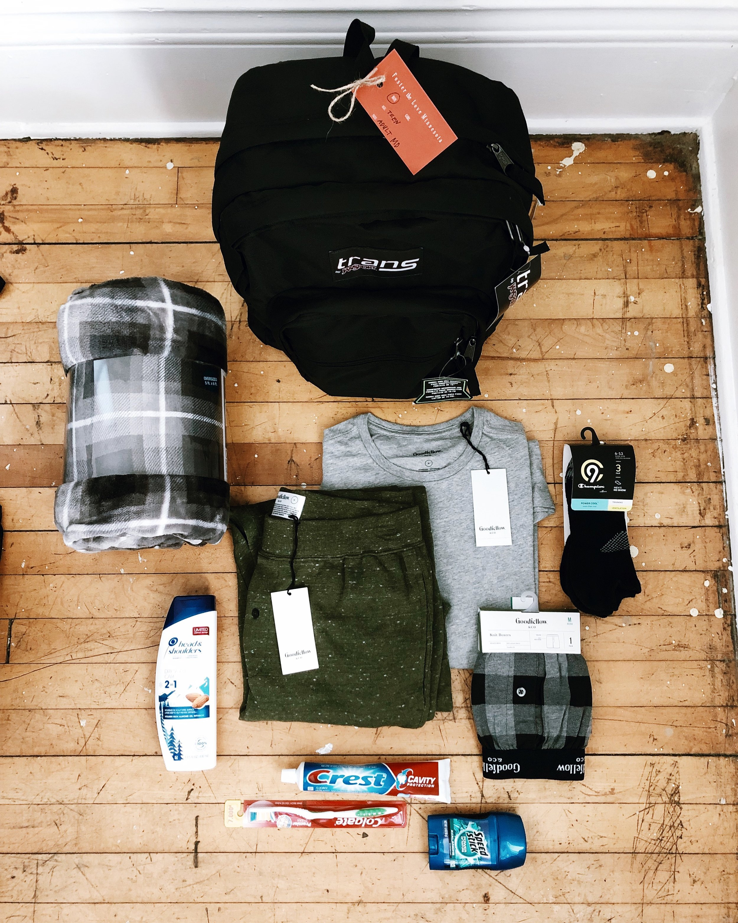 Male teen placement bag; adult size clothing.