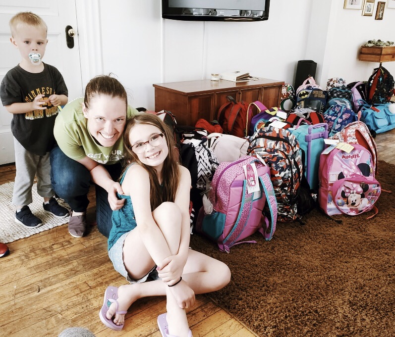Janessa & daughter encouraged their friends & family to join them in making placement bags! 25 bags donated, June 2019.