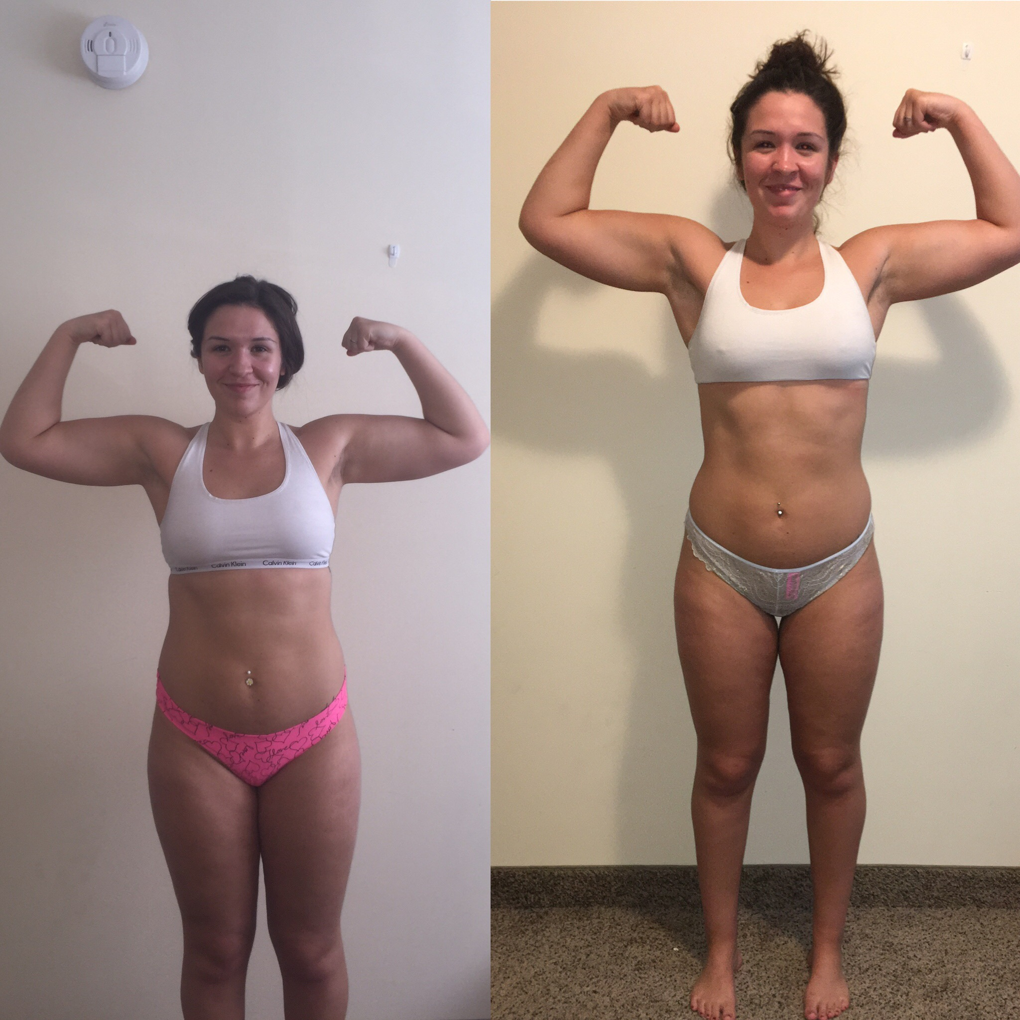 Bianca - While working 2 jobs, Bianca managed to follow a strict diet and intense workout regiment that fit her lifestyle! Bianca lost in 12 weeks 10% body fat, 12 lbs and gained a knowledge in the kitchen and gym forever affecting her life in a positive way!