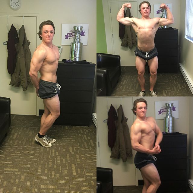 💥client spotlight💥 Hey everyone! Let's show some love for my buddy @carson.plaisier progress he has been grinding! 💪🏼He has never done any bodybuilding posing before, and is looking great! Starting weight was 194, he is now 207 and not looking back! ➡️Swipe right for before photos which was week1!  Inquires shoot me a message!📲 ▪️ #finecutfitness #naturalbodybuilding #cleangains #personaltrainer #onlinetrainer #anytimefitness #frontdoublebicep #sidechest #sidetricep #backdoublebicep #motivation #canada #manitoba #winnipeg
