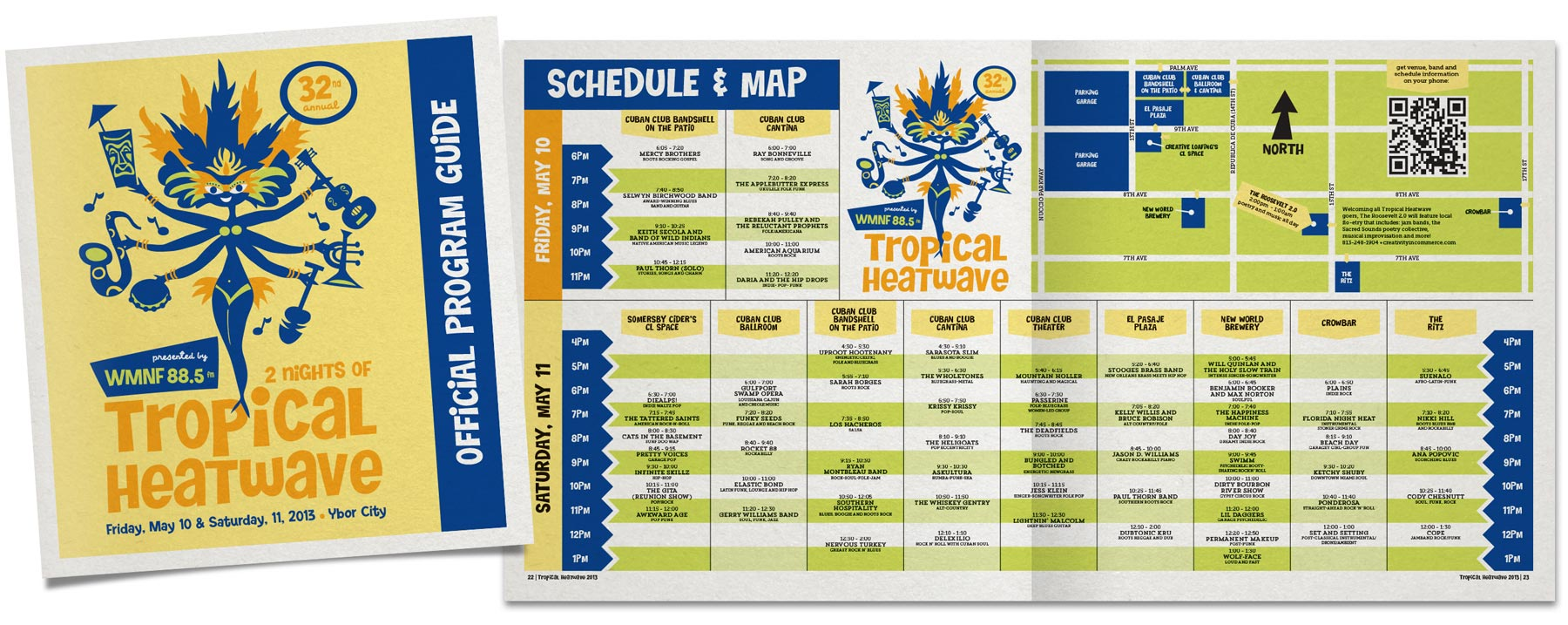Layout design for the WMNF Tropical Heatwave Official Program Guide. The challenge with this piece was to create a user-friendly pull-out schedule that covered two days of shows on 9 separate stages. (logo design/illustration by Heather Manning)