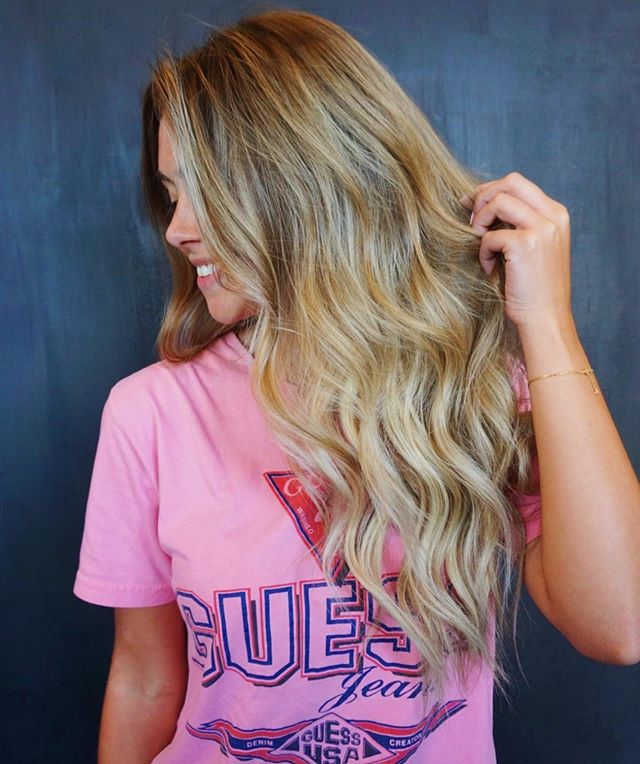 "We're living for this hair on @elizabetharthur! This look was Achieved by a full balayage and babylights framed around her face. Styled with ""Call Time"" and ""Beach Club"" by @igkhair! Hair by  @blondehairstylist + @bohobritt 🌟 • • • • • #studio285 #285girl #285hair #bohobritt #beachedbybritt #behindthechair #augustahair #bayalage #babylights"