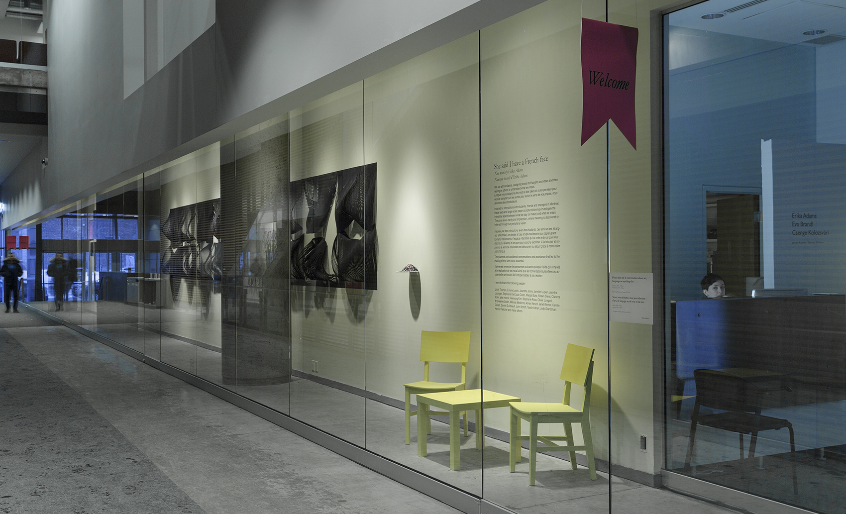 FOFA Gallery, the yellow chairs are the site of conversations in French and in English (en francais et anglais)