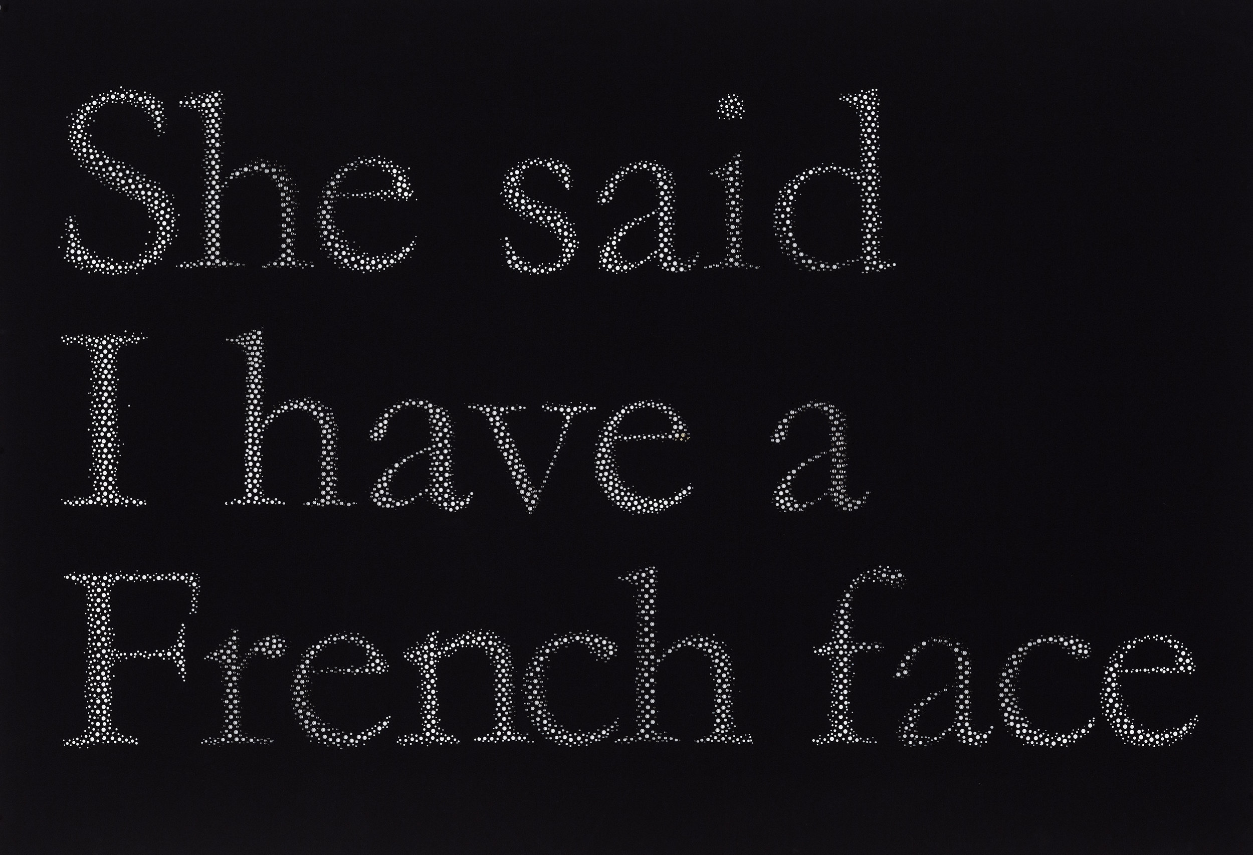 """She said I have a French face , hand hole-punched paper, 30"""" x 44"""", 2013   photograph by Guy L'Heureux"""