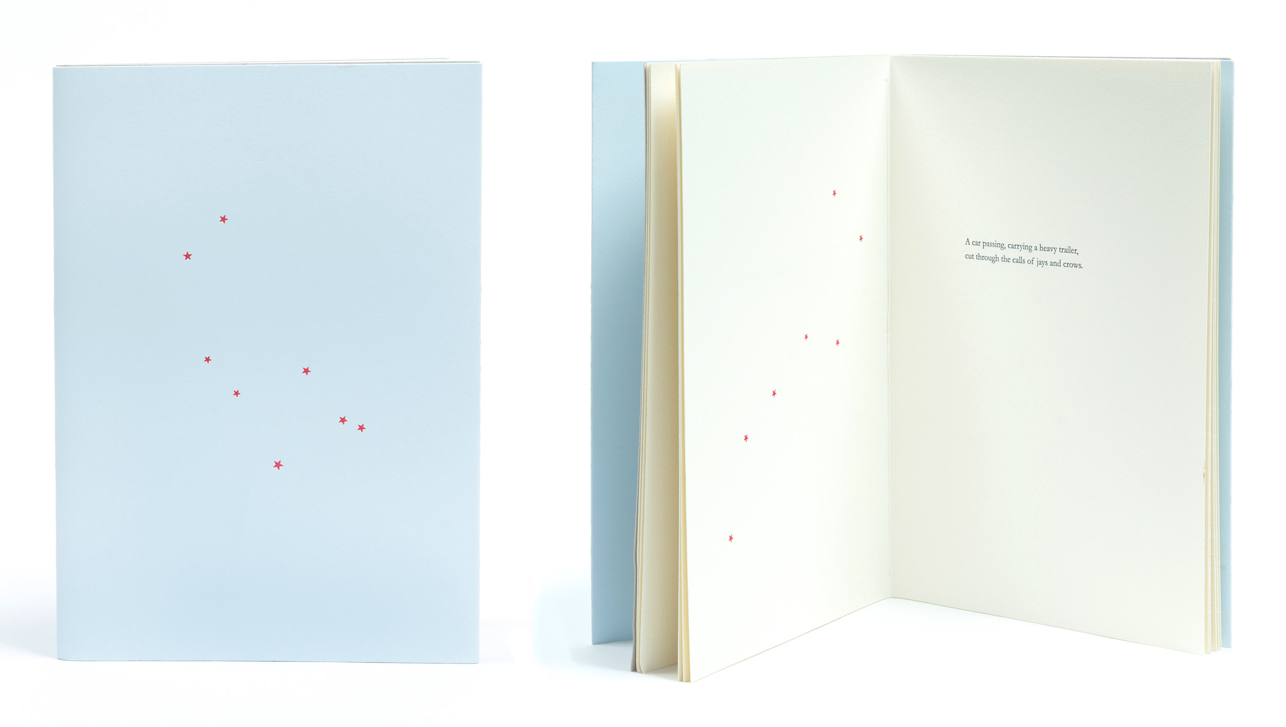 "Just Before Dawn   2012   Just Before Dawn  is a fine press book of a poem and images by artist/printer Erika Adams. The poem is split into ten parts and adjacent to each is a constellation printed in red. Printed from polymer plates prepared by Boxcar Press in Syracuse New York, on a Vandercook Universal III Flat Bed Press, the type is set in Book Antiqua and the paper is Somerset Book. The books are bound using a pamphlet stitch.  Erika Adams, with the assistance of Margot Ecke, printed and bound the edition of forty books, at Smokey Road Press in Winterville, Georgia. An additional ten books were case bound by Campbell-Logan Bindery in Minneapolis, Minnesota.  6"" x 9"", 28 pages.  photographed by Mercedes Jelinek"
