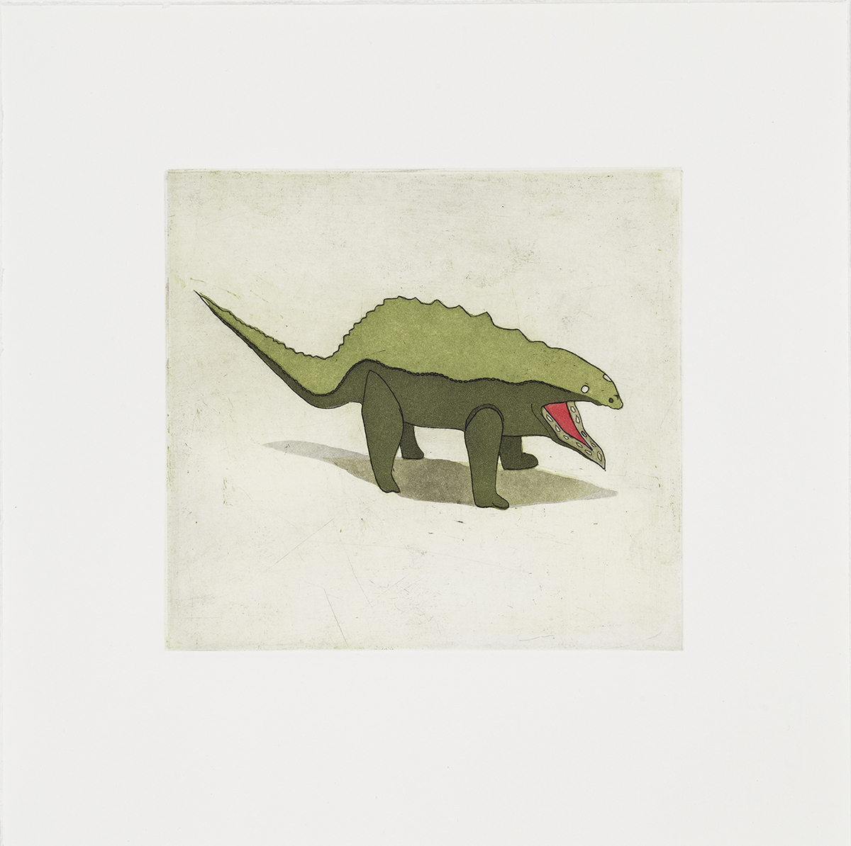 "Dino , Three color etching with aquatint, 6"" x 6"", 2014"