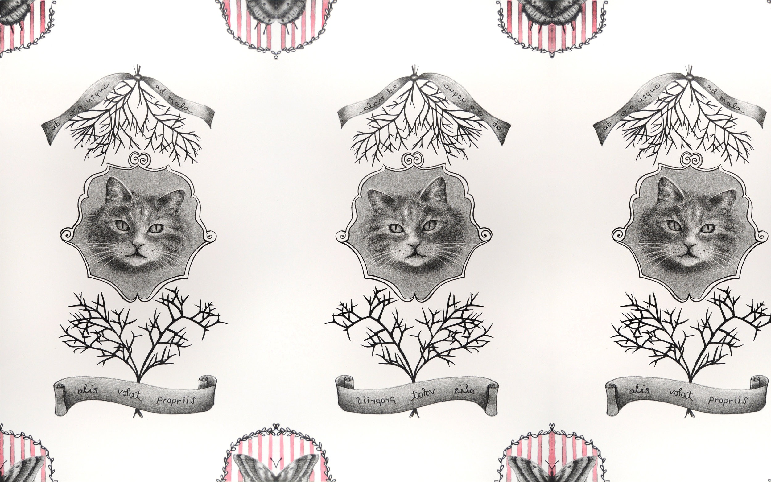 "Kitty Wallpaper,  two color lithograph with hand coloring, digitally repeated, original print 10"" x 30"", 2012."