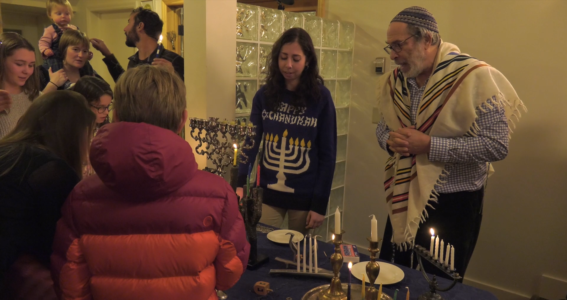 Rabbi Ed celebrates Hanukkah with his congregation